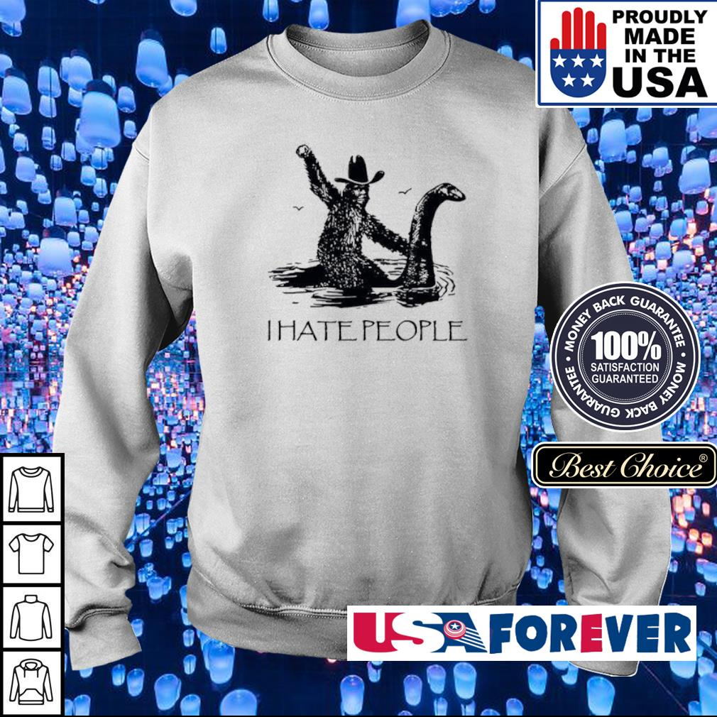 Bigfoot riding Loch Ness monster I hate people s sweater