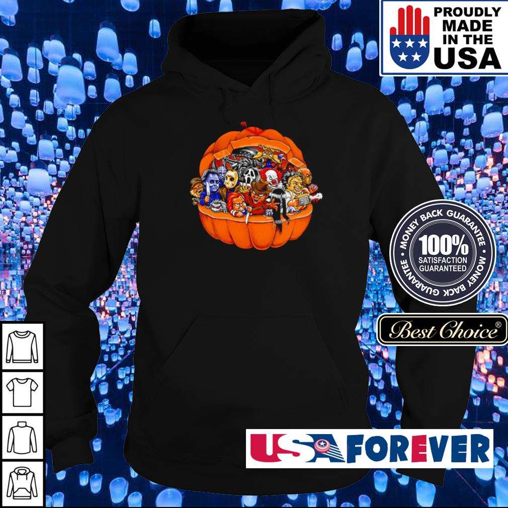 Chibi horror characters inside pumpkin happy Halloween s hoodie