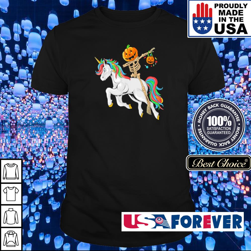 Dabbing pumpkin skeleton riding unicorn shirt