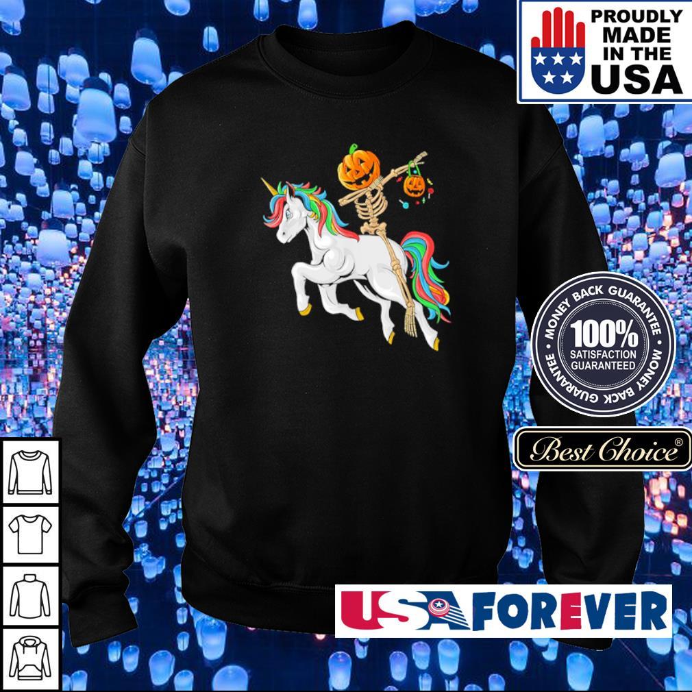 Dabbing pumpkin skeleton riding unicorn s sweater