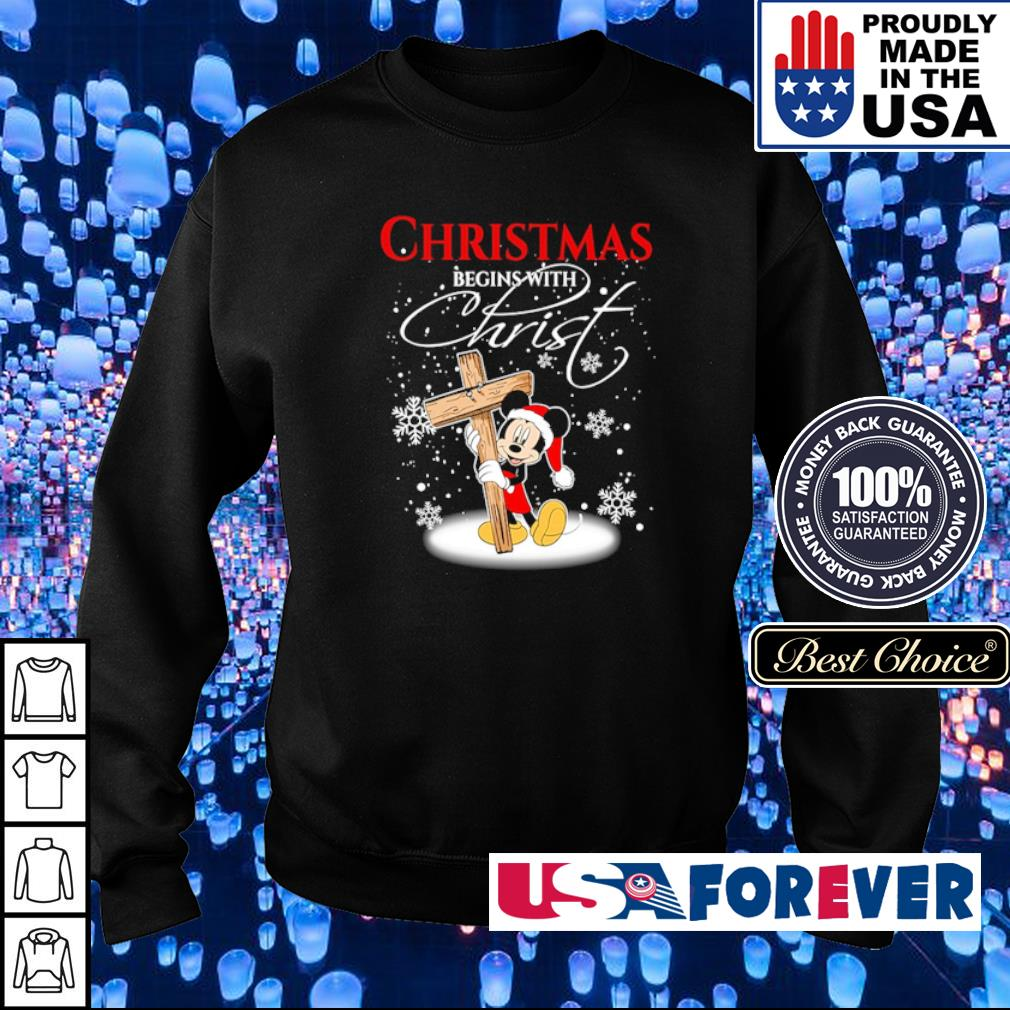 Mickey Mouse happy Chirstmas begin with Christ s sweater