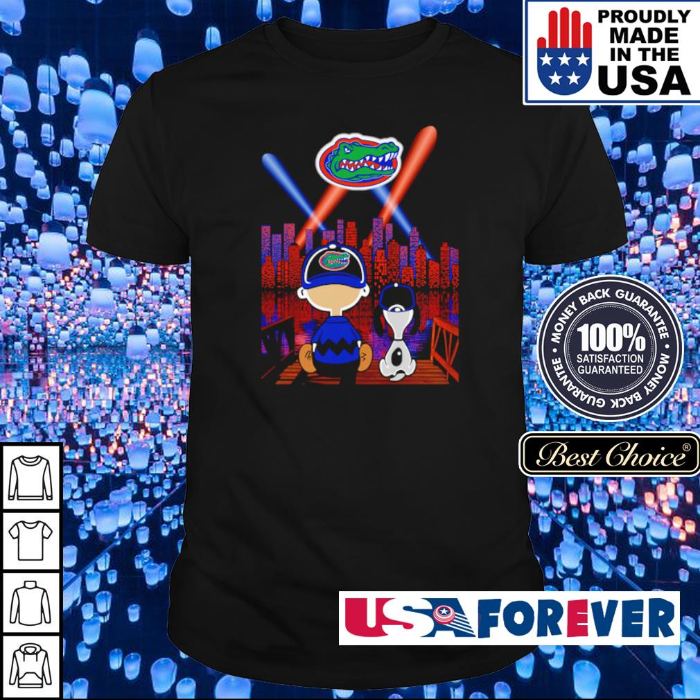 Snoopy and Charlie Brown watching Florida Gators city by night shirt