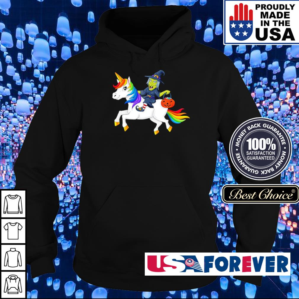 Witch riding unicorn happy Halloween s hoodie
