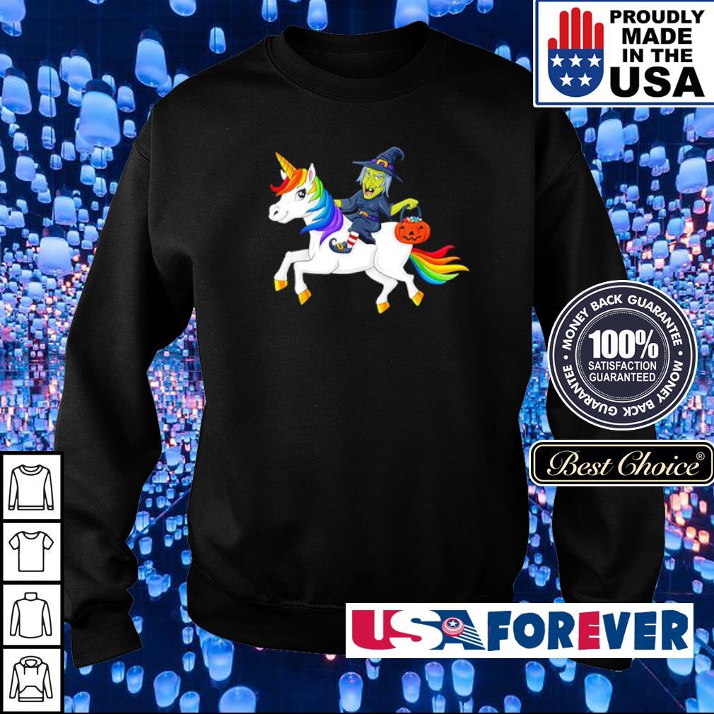 Witch riding unicorn happy Halloween s sweater