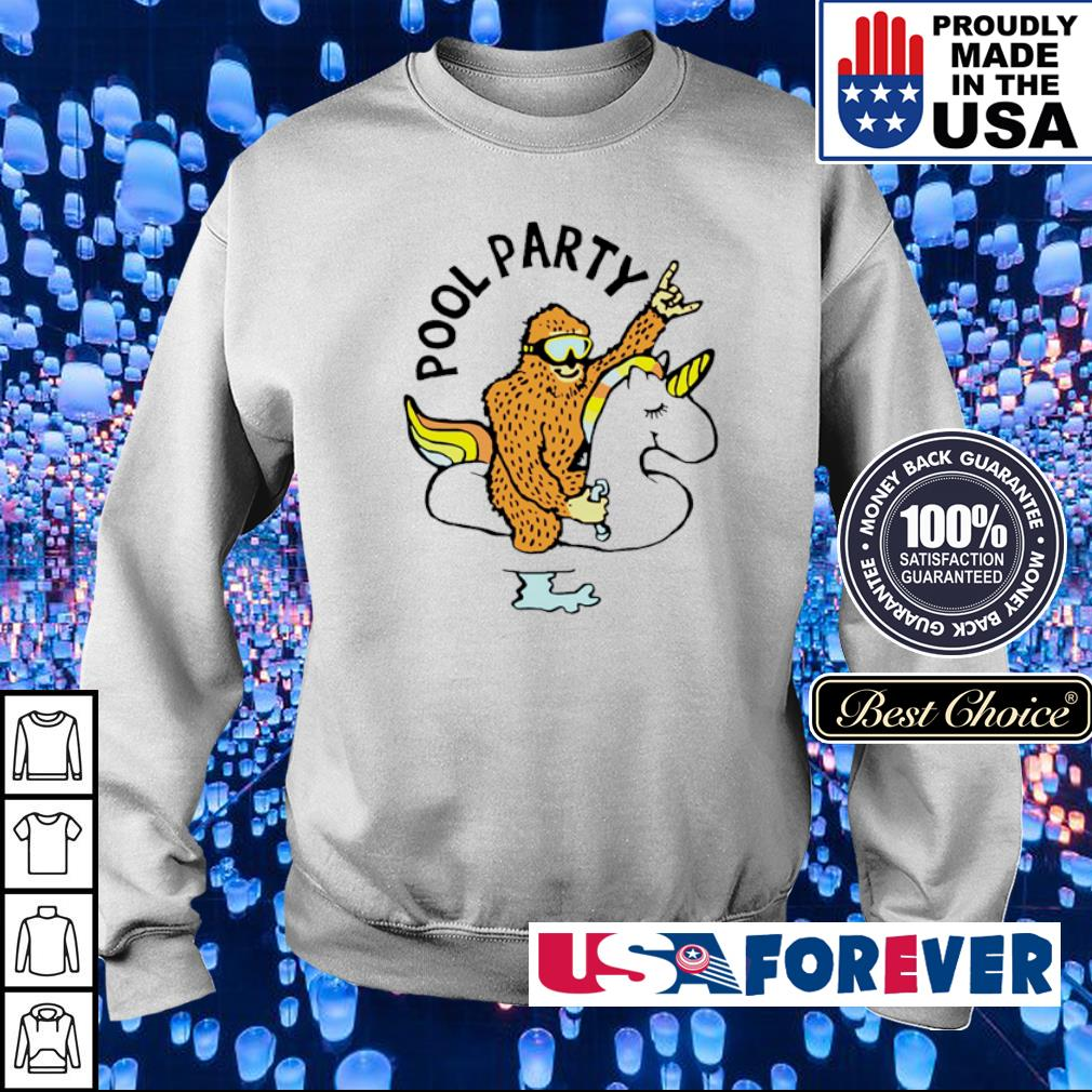 Bigfoot riding unicorn pool party s sweater