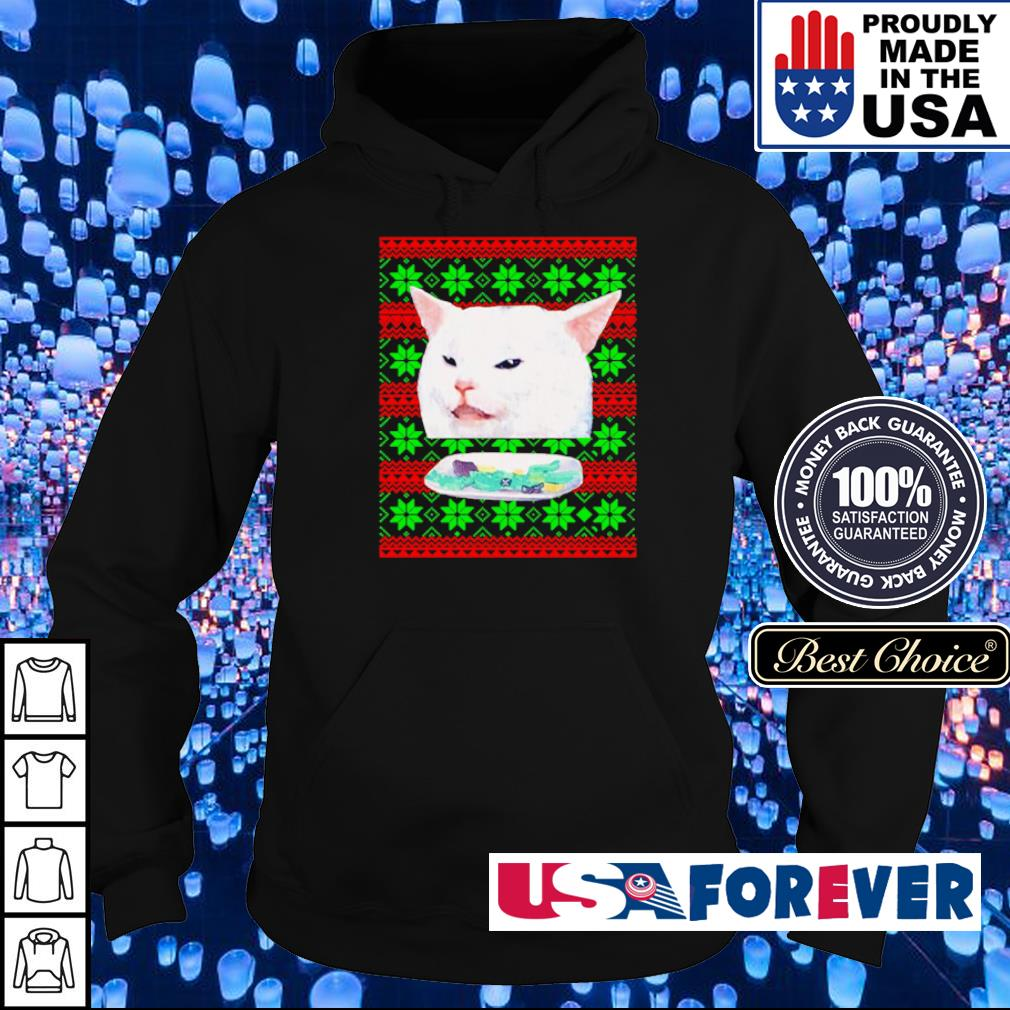 Cat meme woman yelling at a cat merry Christmas sweater hoodie
