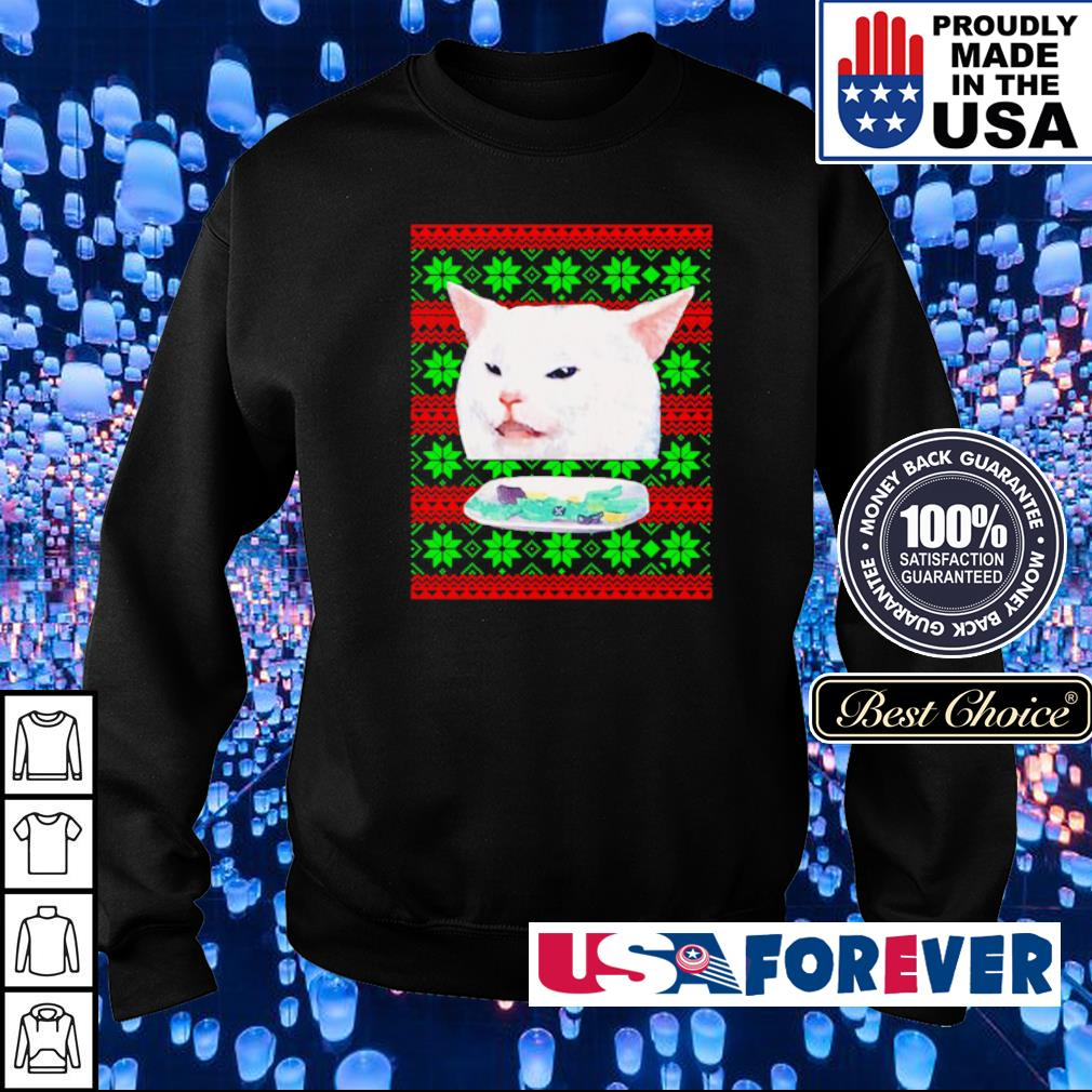Cat meme woman yelling at a cat merry Christmas sweater