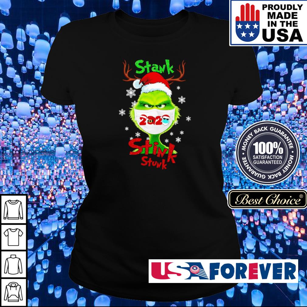 Grinch wearing facemask stank stink stunk Christmas sweater ladies