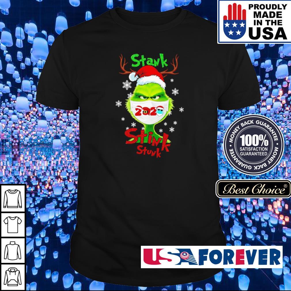 Grinch wearing facemask stank stink stunk Christmas sweater shirt