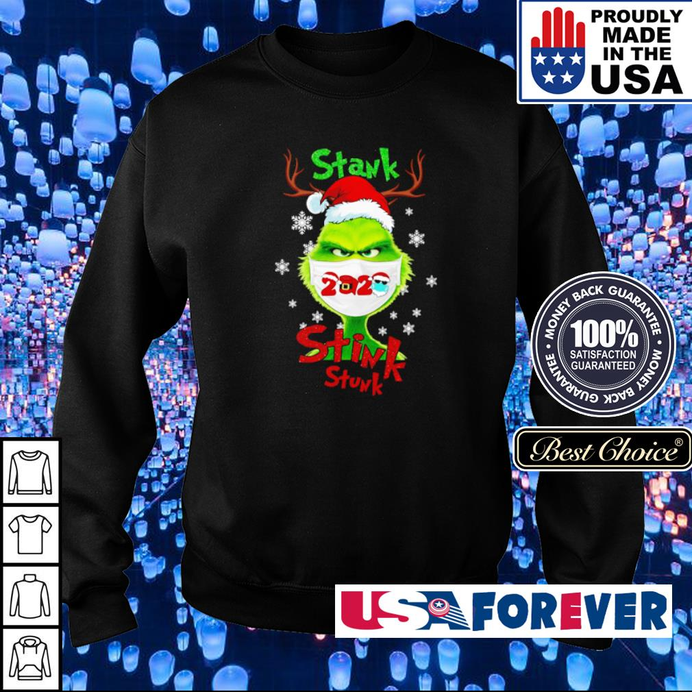 Grinch wearing facemask stank stink stunk Christmas sweater