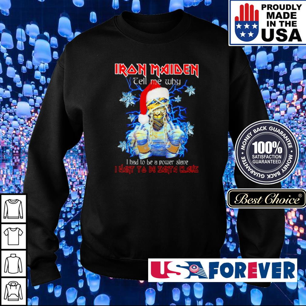 Iron Maiden tell me why I had to be power slave I want to be Santa Claus sweater