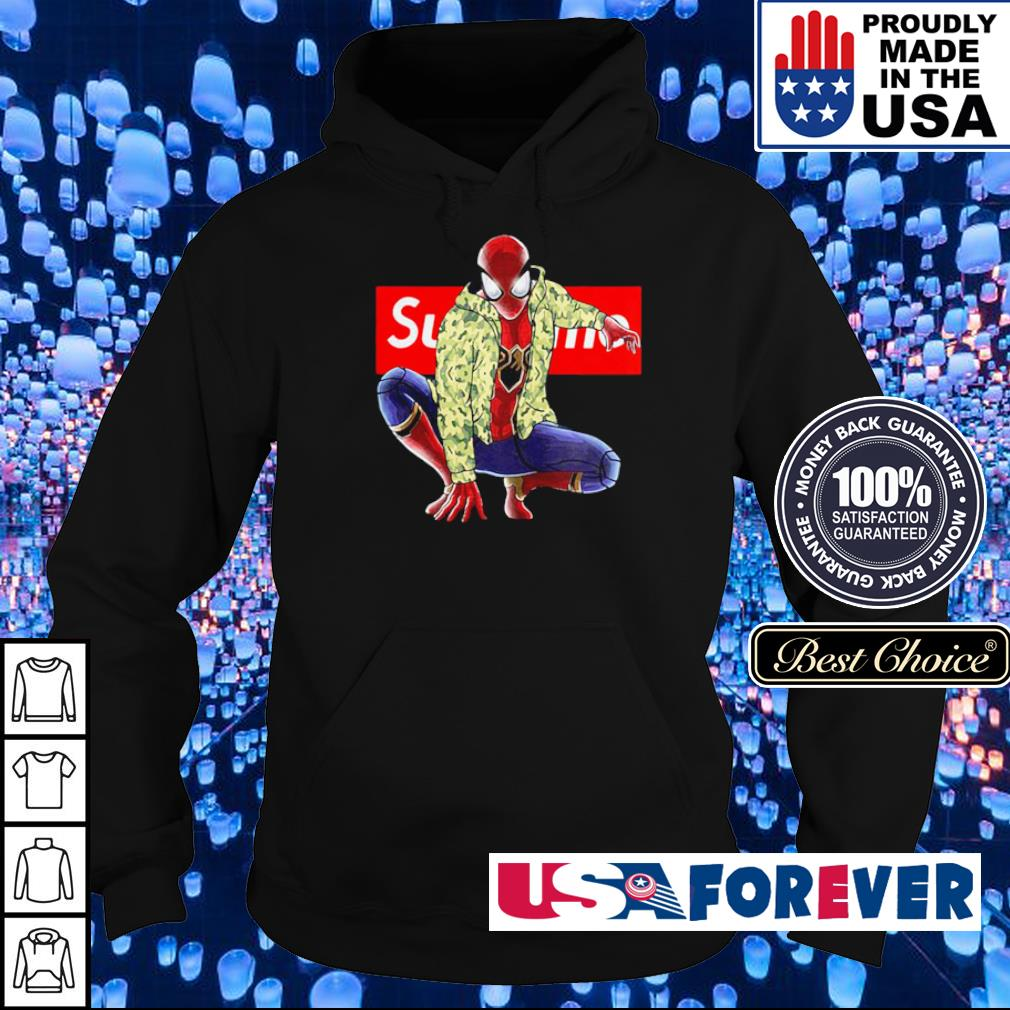 Marvel Spiderman wearing Supreme clothes s hoodie