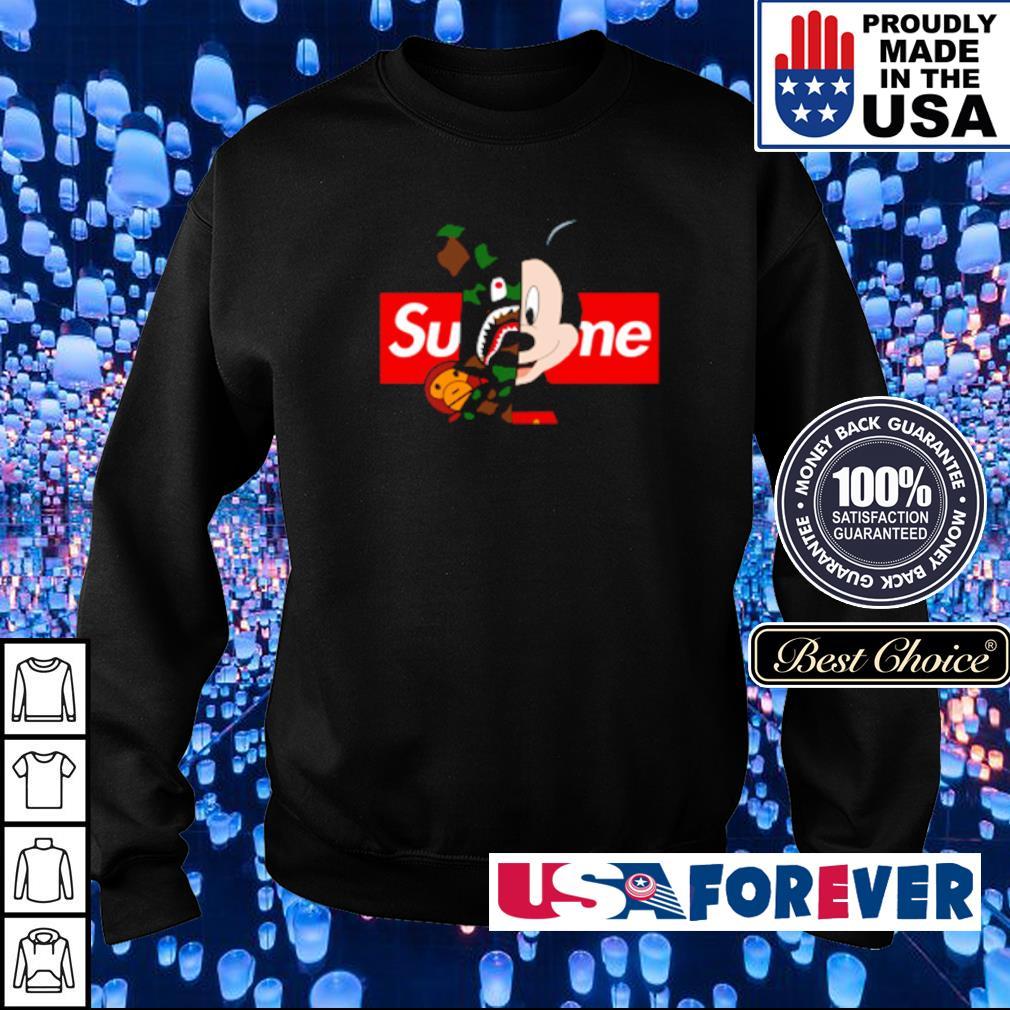 Mickey Mouse wearing Bape x Supreme s sweater