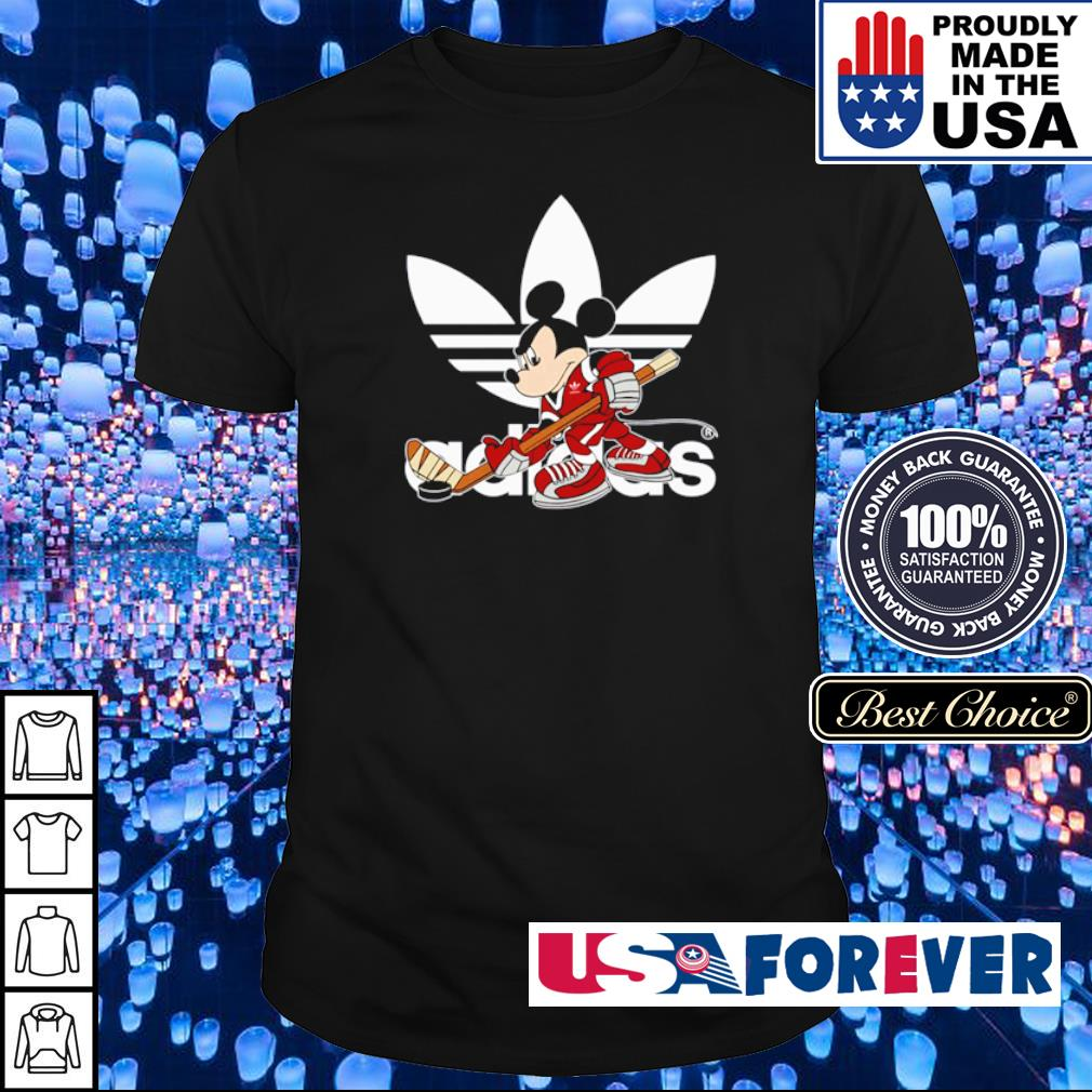 Micky Mouse wearing Adidas play hockey shirt