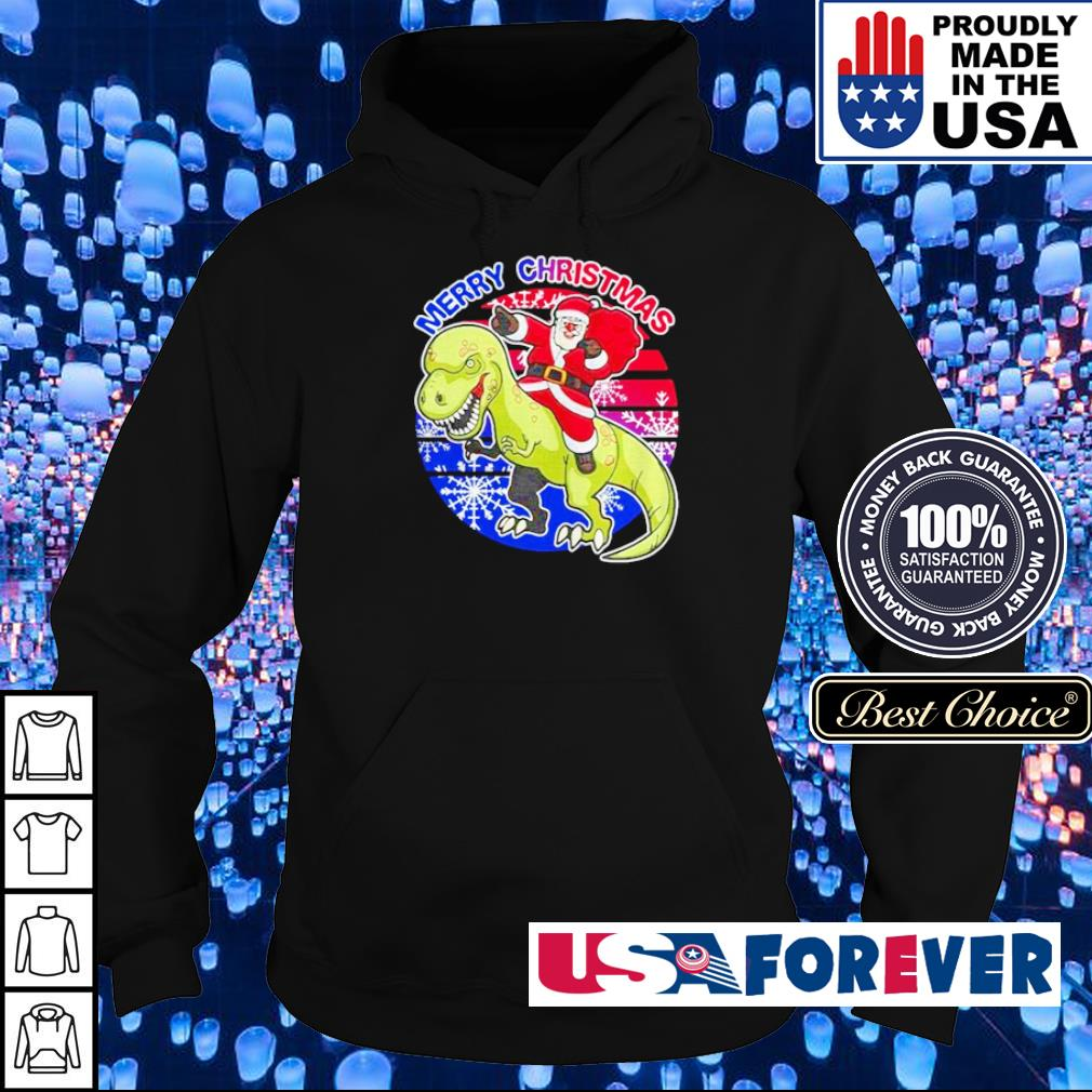 Santa Claus riding dinosaur merry Christmas American sweater hoodie