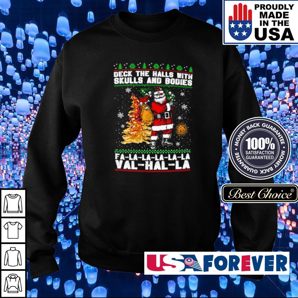 Santa Clause deck the halls with skulls and bodies fa la la val hal la sweater