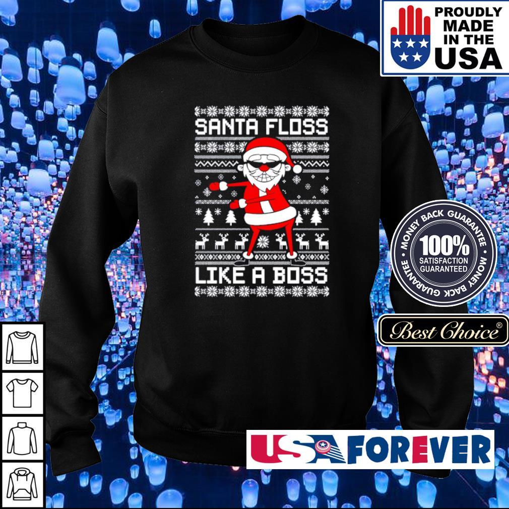 Santa floss like a boss merry Christmas sweater
