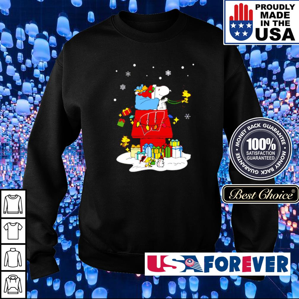 Wisconsin Badgers Santa Snoopy merry Christmas sweater