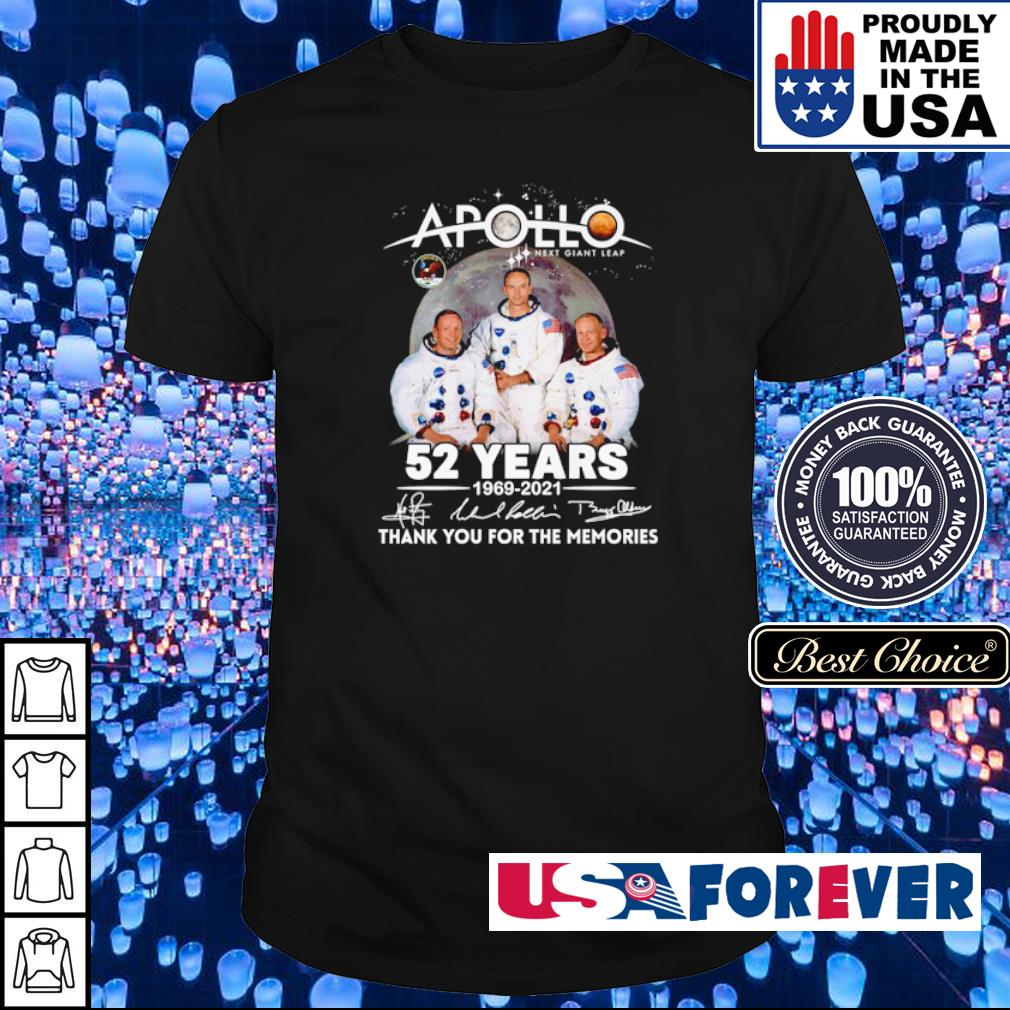 Apollo next giant leap 52 years 1969 2021 thank you for the memories signature shirt