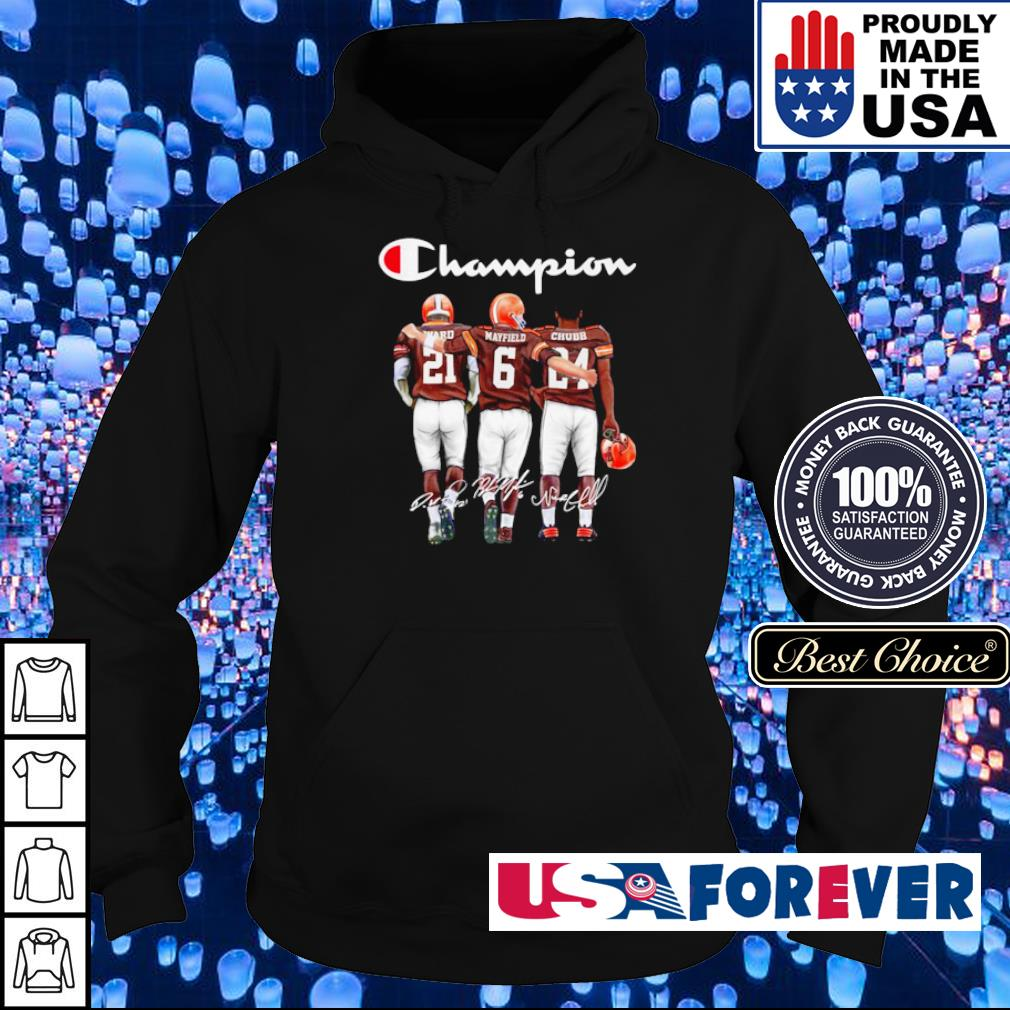 Cleveland Browns Ward Mayfield and Chubb signature Champion s hoodie