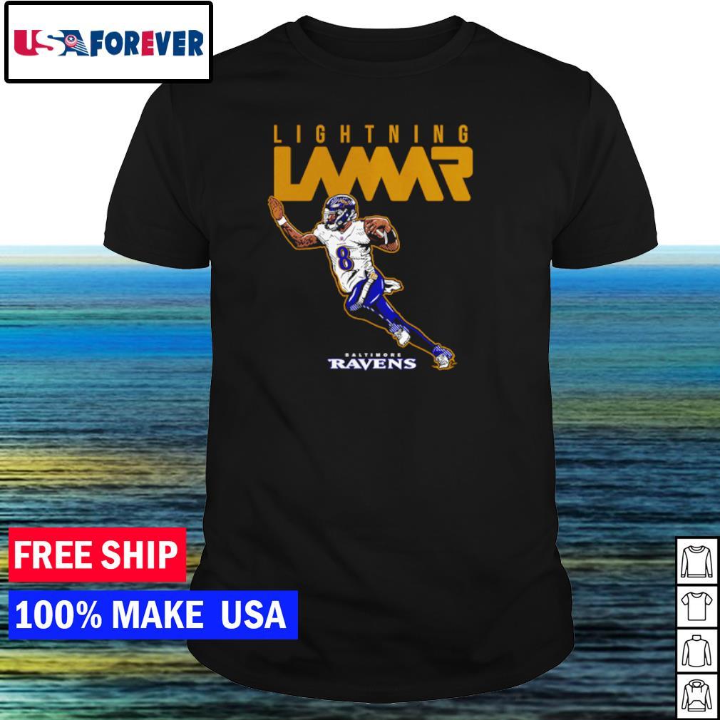Lightning Lamar Jackson number 8 Baltimore Ravens shirt