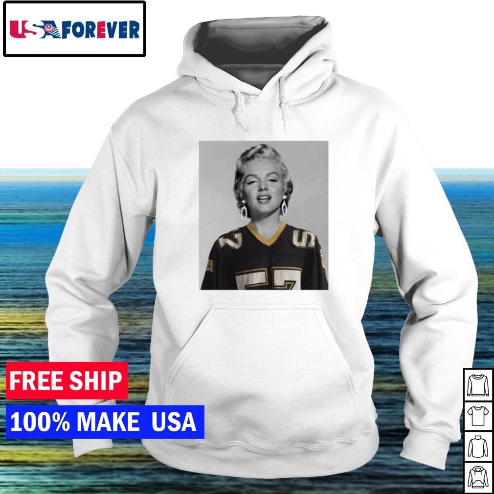 Marilyn Monroe wearing New Orleans Saints s hoodie