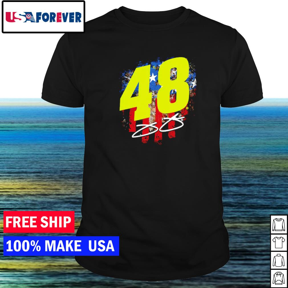 Number 48 Jimmie Johnson American Flag signature shirt