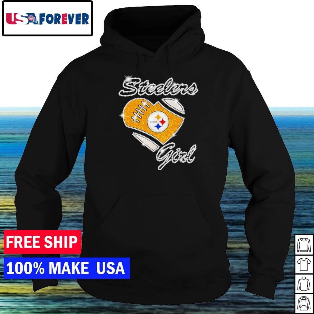 Pittsburgh Steelers girl diamond heart love s hoodie