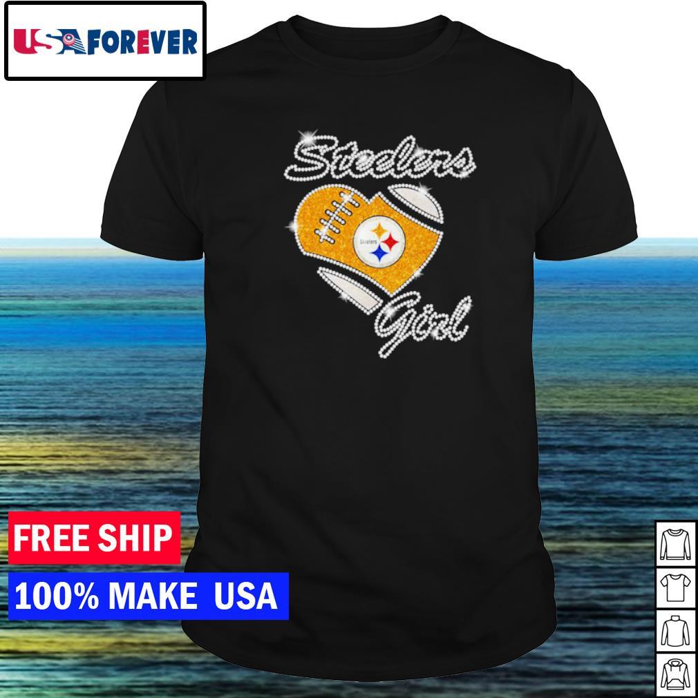 Pittsburgh Steelers girl diamond heart love shirt